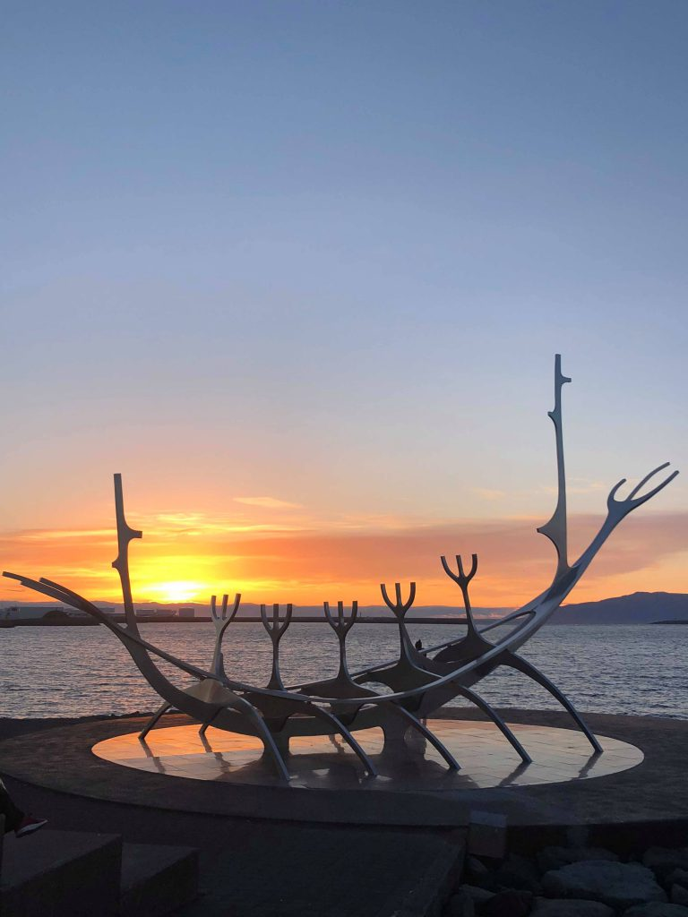 The Sun Voyager monument during sunset