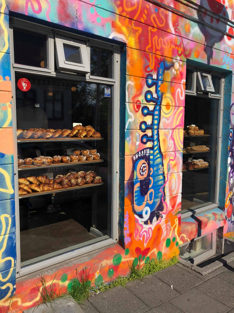 The colourful exterior and some freshly baked goods